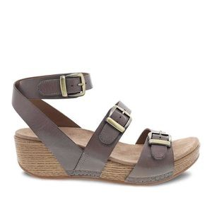 Dansko Lou Burnished Calf Sandal in Taupe